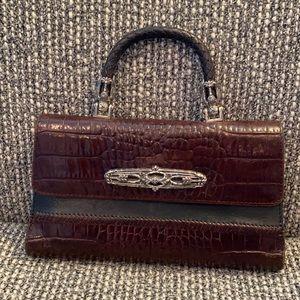 Vtg BRIGHTON CROCO Leather ORGANIZER Wallet Bag